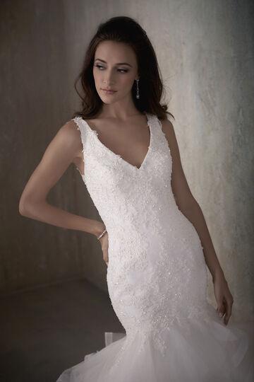 V-Neck Beaded Lace Mermaid Wedding Dress with Tulle Ruffles - 31015