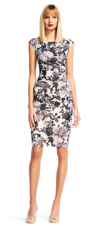 Watercolor Floral Sheath Dress with Sparkle Knit