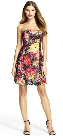 Strapless Floral Lace Party Dress