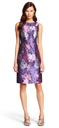 Embellished Floral Jacquard Sheath Dress
