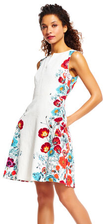 Fit and Flare Dress with Floral Print Trim