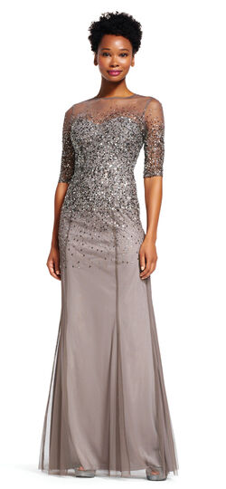 Vintage Evening Dresses Beaded Illusion Gown $280.00 AT vintagedancer.com