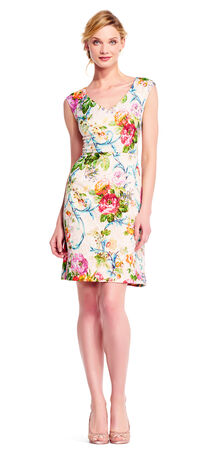 Floral Matelasse A-line Dress with Cap Sleeves