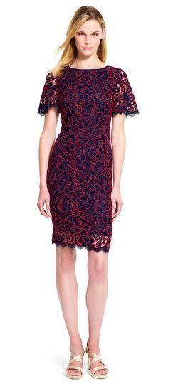 Flutter Sleeve Lace Sheath Dress