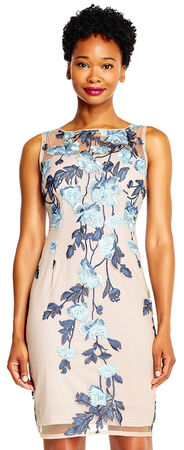 Floral Embroidered Sheath Dress with Sheer Neckline