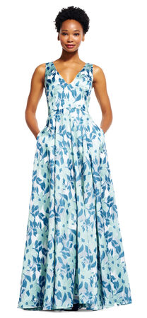 Sleeveless Floral Ball Gown with Deep V-Neckline