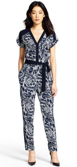 Drop Shoulder Printed Jumpsuit