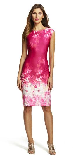 Border Printed Scuba Sheath Dress