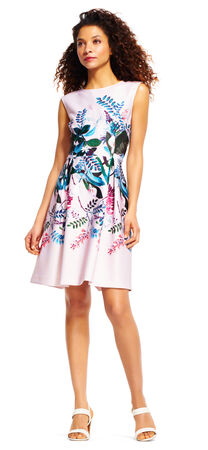 Sleeveless Floral Oasis Fit and Flare Dress