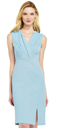 Sleeveless Jacquard Dress with Pleated V-Neck