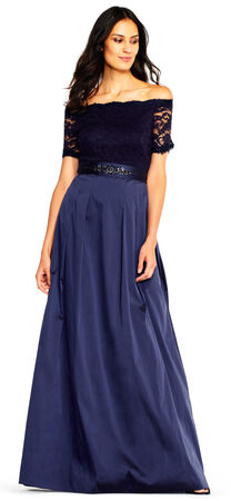 Taffeta Ball Gown with Off the Shoulder Lace Bodice
