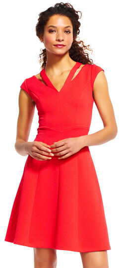 Cap Sleeve Fit and Flare Dress with Cutout Neck