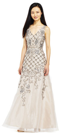 Filigree and Floral Beaded Ball Gown