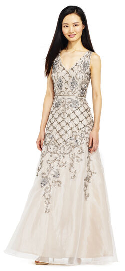 Vintage Inspired Bridesmaid Dresses, Mothers Dresses Filigree and Floral Beaded Ball Gown $379.00 AT vintagedancer.com