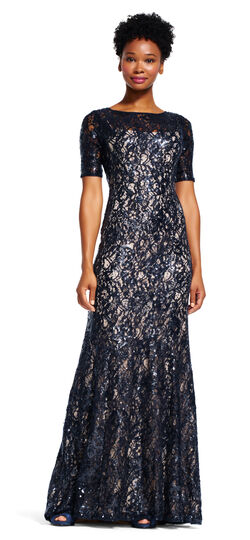 Sequin Lace Mermaid Dress with Short Sleeves