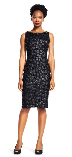 Sleeveless Shift Dress with 3D Leather Jeweled Florals