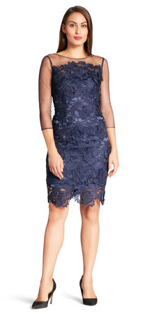 Illusion Sleeve Floral Guipure Lace Cocktail Dress