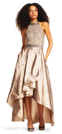 High Low Halter Gown with Filigree Beaded Embroidery