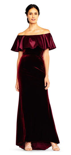 1930s Style Evening Dresses Off The Shoulder Velvet Gown with Charmeuse Ruffle Popover $199.00 AT vintagedancer.com