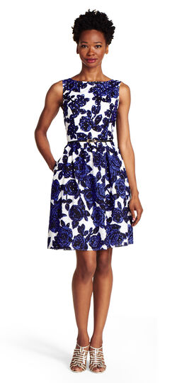 Floral Print Eyelet Fit and Flare Dress