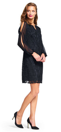 Medallion Lace Shift Dress with Sheer Long Sleeves