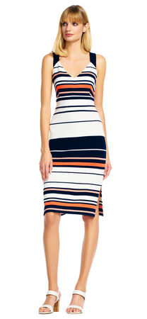 Stripe Print Midi Dress with Criss Cross Back