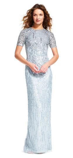 Sheer Short Sleeve Beaded Dress with Slit Skirt