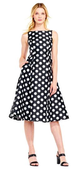 1950s Polka Dot Dresses Polka Dot Mikado Midi Dress 5.00 AT vintagedancer.com