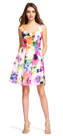 Watercolor Floral Fit and Flare Pleated Dress