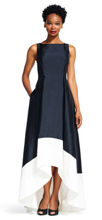 Color Block High Low Dress with V-Back