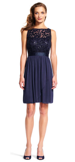 Sleeveless Tulle Cocktail Dress with Sequin Scroll Bodice