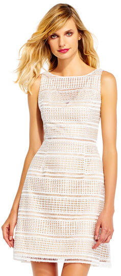 Eyelet Lace Party Dress with Illusion V-Neckline