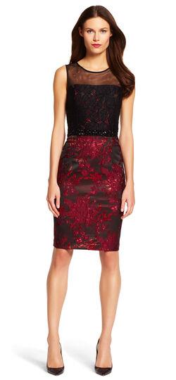 Embellished Lace & Jacquard Sheath Dress