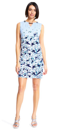 Floral Sheath Dress with Chain Detailing