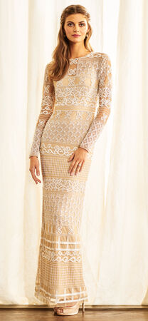 Long Sleeve Bohemian Beaded Dress with Sheer Details