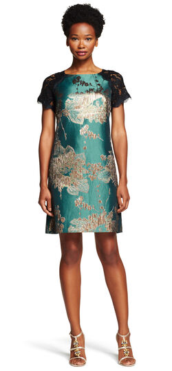 Lace and Metallic Jaquard Shift Dress