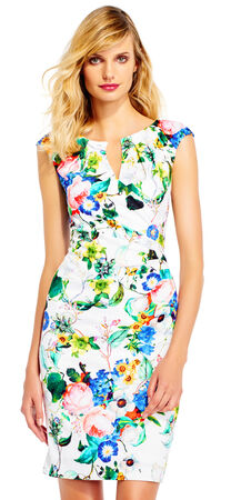 Botanical Floral Cap Sleeve Sheath Dress with Split Neckline