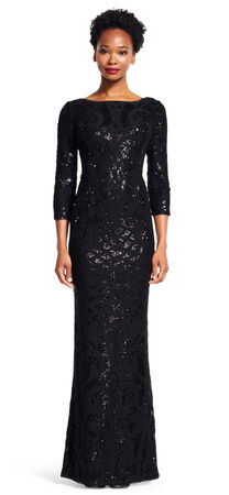 Lace Sequin Scales Mermaid Gown with Three Quarter Sleeves