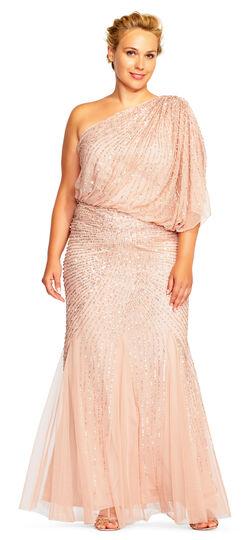 1930s Plus Size Dresses One Shoulder Beaded Blouson Gown with Godet Skirt $349.00 AT vintagedancer.com