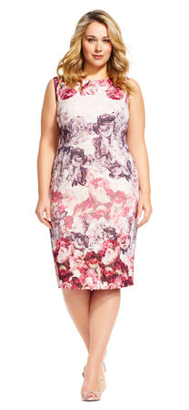 Sleeveless Floral Sheath Dress with Exposed Zipper