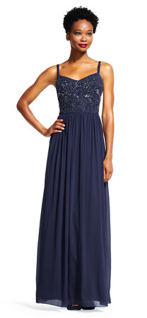 Chiffon Dress with Beaded Bodice