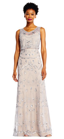 Sleeveless Beaded Blouson Gown with Illusion Details