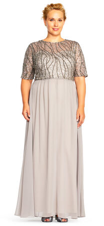 Sequin Beaded Chiffon Gown with Elbow Sleeves