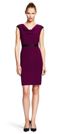 Cowl Neck Lace & Shutter Pleat Sheath Dress