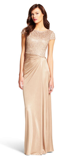 Lace Draped Jersey Gown