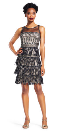 Sleeveless Beaded Fringe Dress with Illusion Neckline