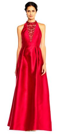 Mock Neck Halter Dress with Sheer Sequin Design