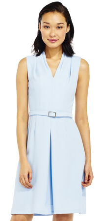 Sleeveless A-Line Dress with Belted Waist