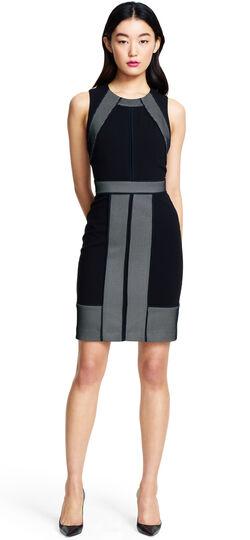 Colorblocked Mesh Sheath Dress