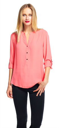 Three Quarter Sleeve Button Down Top
